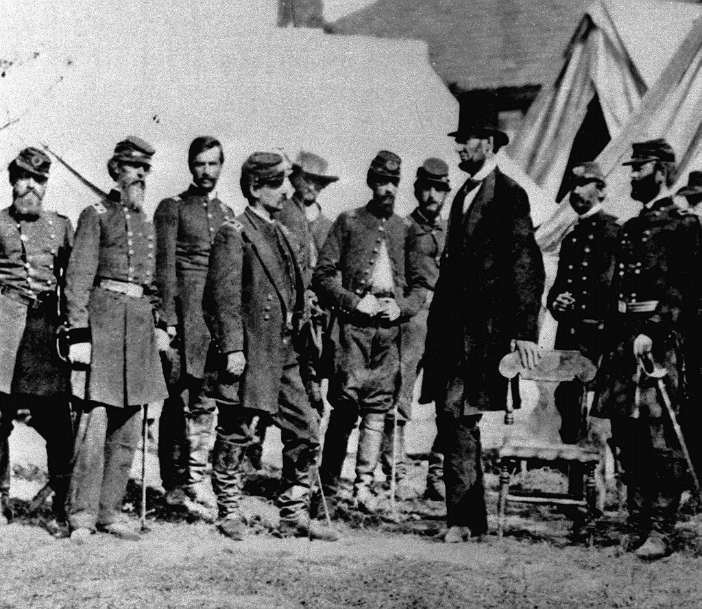 : President Lincoln issues the Emancipation Proclomation, given Black slaves their freedom. US President Abraham Lincoln (3rd right, top hat) talking to some cavalry officers during the American Civil War. 18/02/01: A collection of footwear comprising the shoes of 12 American presidents is to go on display in Britain. * ...in its first outing outside the United States. Ref #: PA.1396418  Date: 01/11/1865 Picture by: PA/PA Archive/Press Association Images