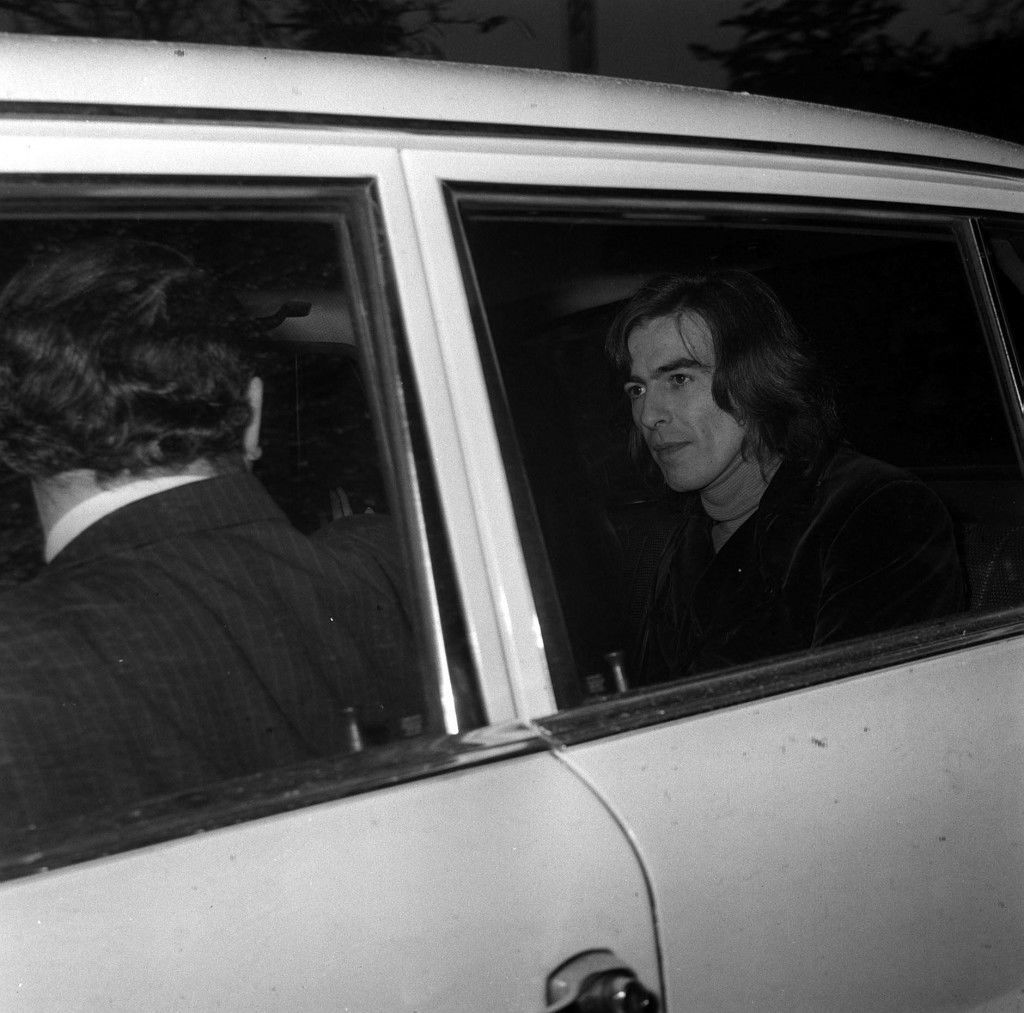 Beatle George Harrison. Both Harrison and his wife George Harrison were remanded on bail until March 31 at Esher and Walton court acused of being in possession of cannabis resin without being duly authorised ghgal  Ref #: PA.1458330  Date: 18/03/1969