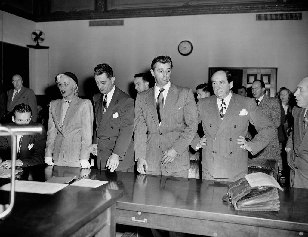 - In this Feb. 9, 1949 file photo, actor Robert Mitchum, center right, and actress Lila Leeds, left, are sentenced to 60 days in jail on charges of conspiracy to possess marijuana cigarettes in Los Angeles.