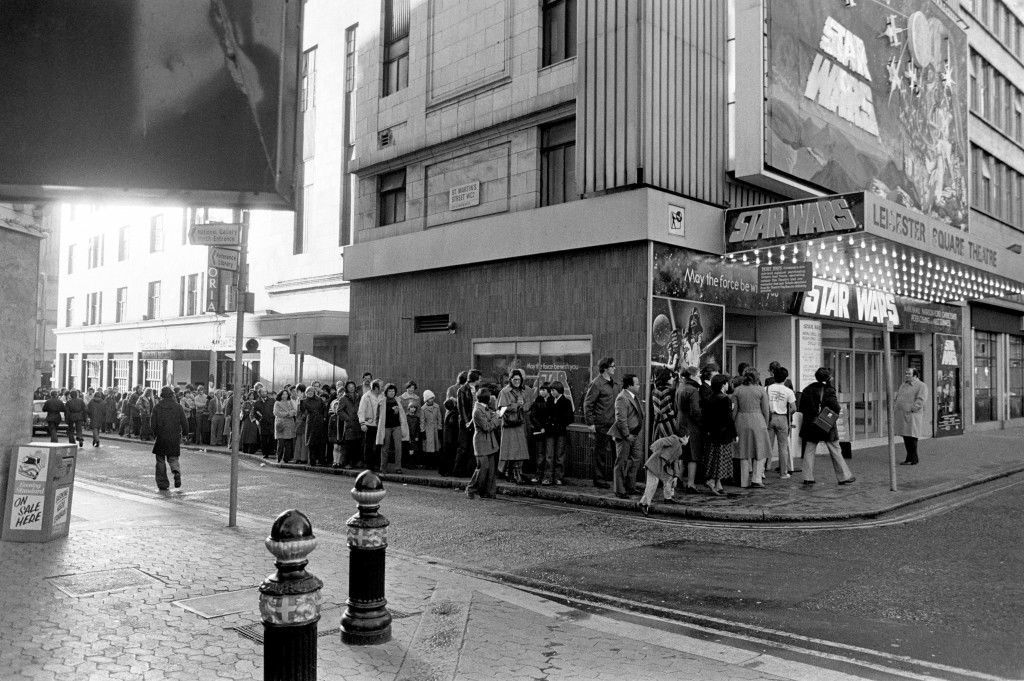 "The queue outside the Leicester Square Theatre, in the morning, for the London opening of the movie ""Star Wars"". MAY 14TH: On this day in 1944, 'Star Wars' movie series creator George Lucas was born. Ref #: PA.1542048 Date: 27/12/1977"