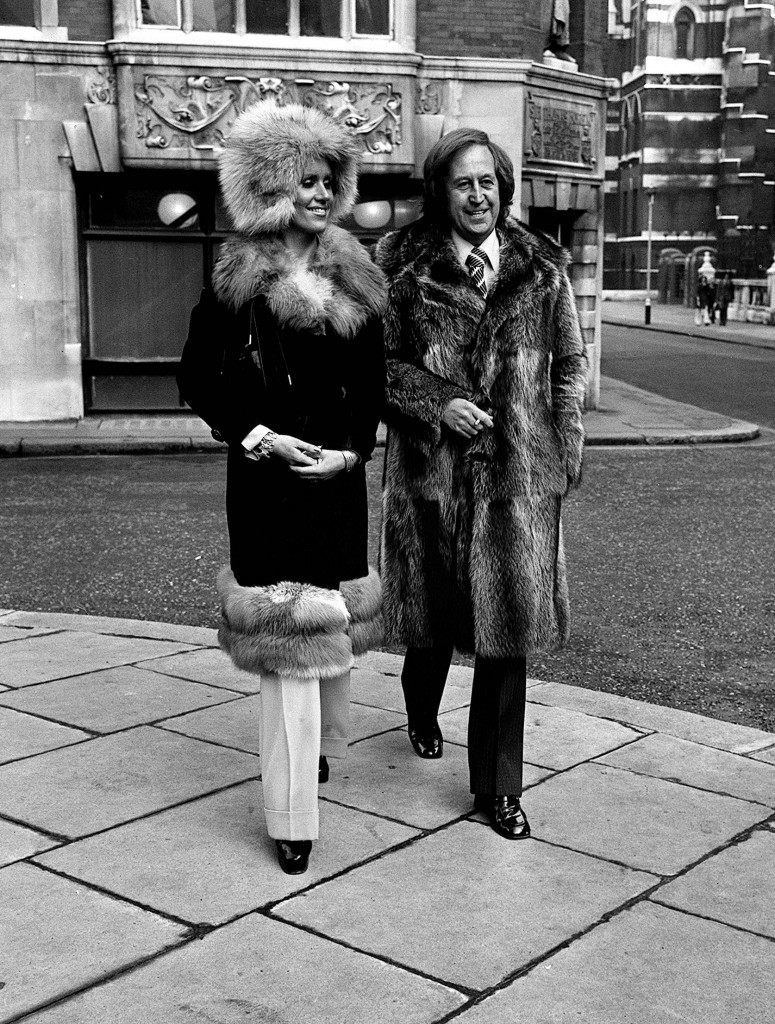 Paul Raymond seen with Fiona Richmond in London after an edition of his 'Men Only' magazine was read by a High Court jury to decide whether or not it was indecent or obscene. Ref #: PA.1560861 Date: 05/02/1974
