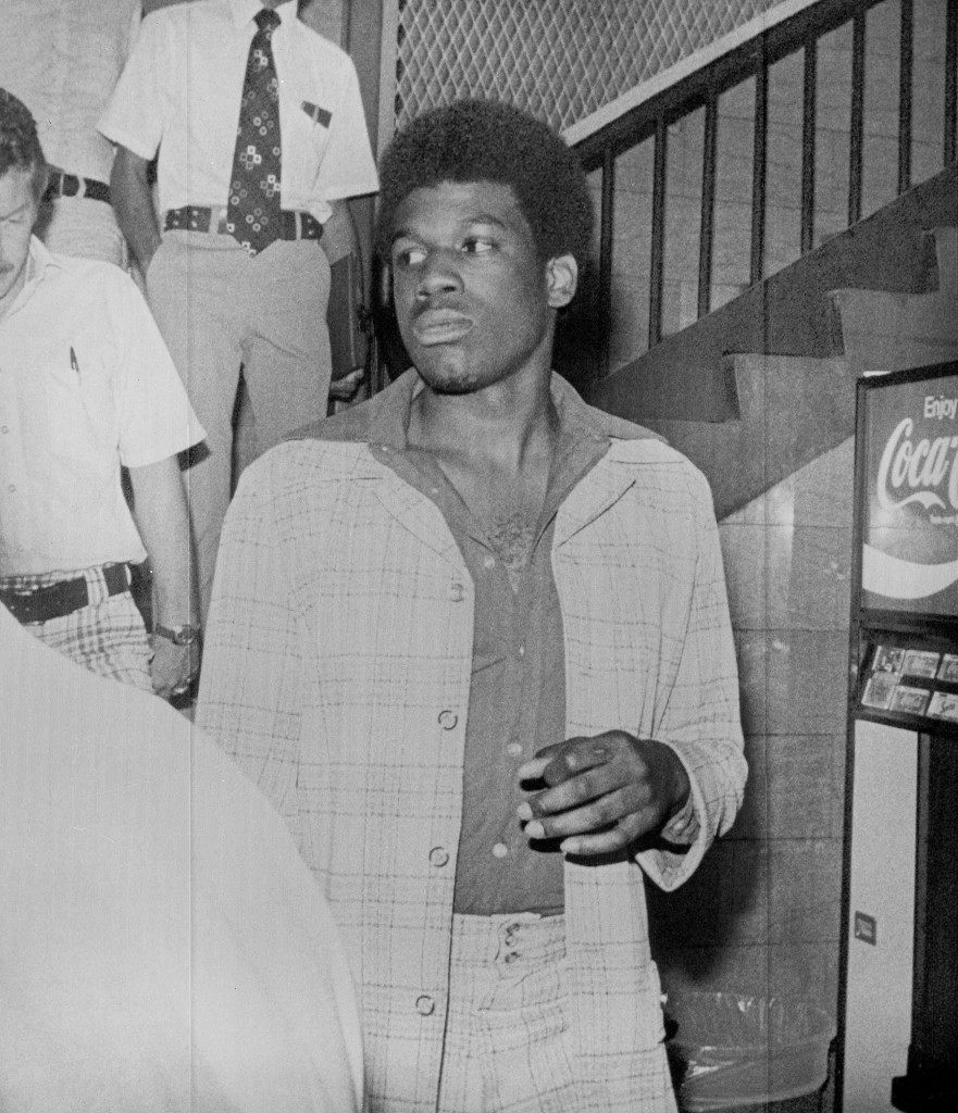 Bernard King, former Tenn. basketball star and first round draft choice of the New Jersey Nets, is seen going to court in Knoxville, Tenn., Aug. 1, 1977 where he pleaded guilty to possession of marijuana and resisting arrest. (AP Photo) Ref #: PA.16026484