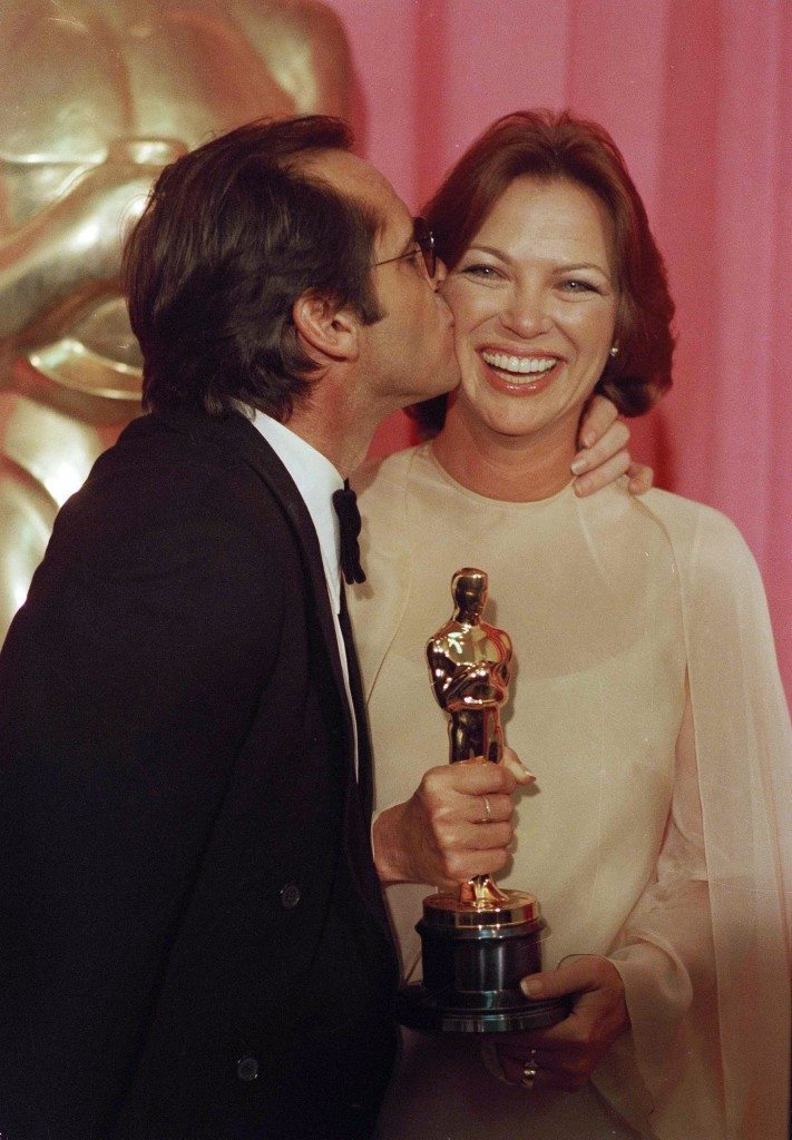 "Jack Nicholson has a kiss for Louise Fletcher after each won an Oscar for their leading roles in ""One Flew Over The Cuckoo's Nest"", in Los Angeles, March 30, 1976. (AP Photo/JFM) Ref #: PA.16180446  Date: 30/03/1976"