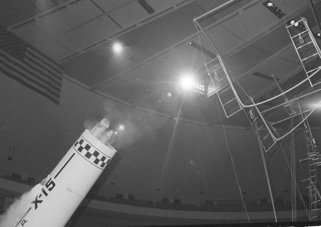 Emanuel Zacchini bursts from a cannon barrel for an airborne trip across New York's Madison Square Garden during a performance of Ringling Bros. & Barnum and Bailey Circus, April 9, 1970. Zacchini returned recently to the act after being sidelined by injuries when he collided with his wife during a performance in Jacksonville, Fla., Feb. 4. Mrs. Zacchini is still in a wheelchair. (AP Photo/John Lent) Ref #: PA.16860984  Date: 09/04/1970