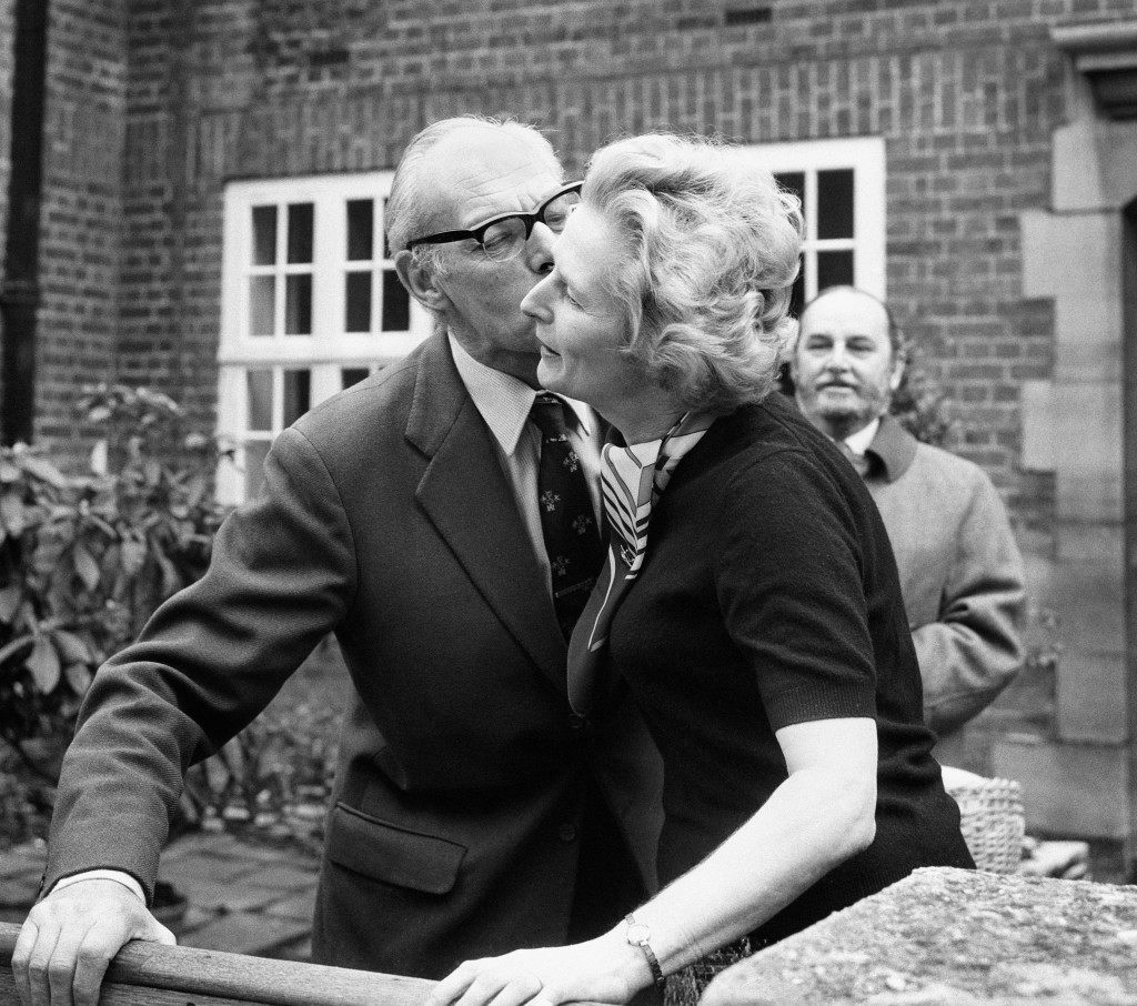 Margaret Thatcher, Conservative MP, receives a kiss from her husband Denis. Ref #: PA.1747240  Date: 01/02/1975
