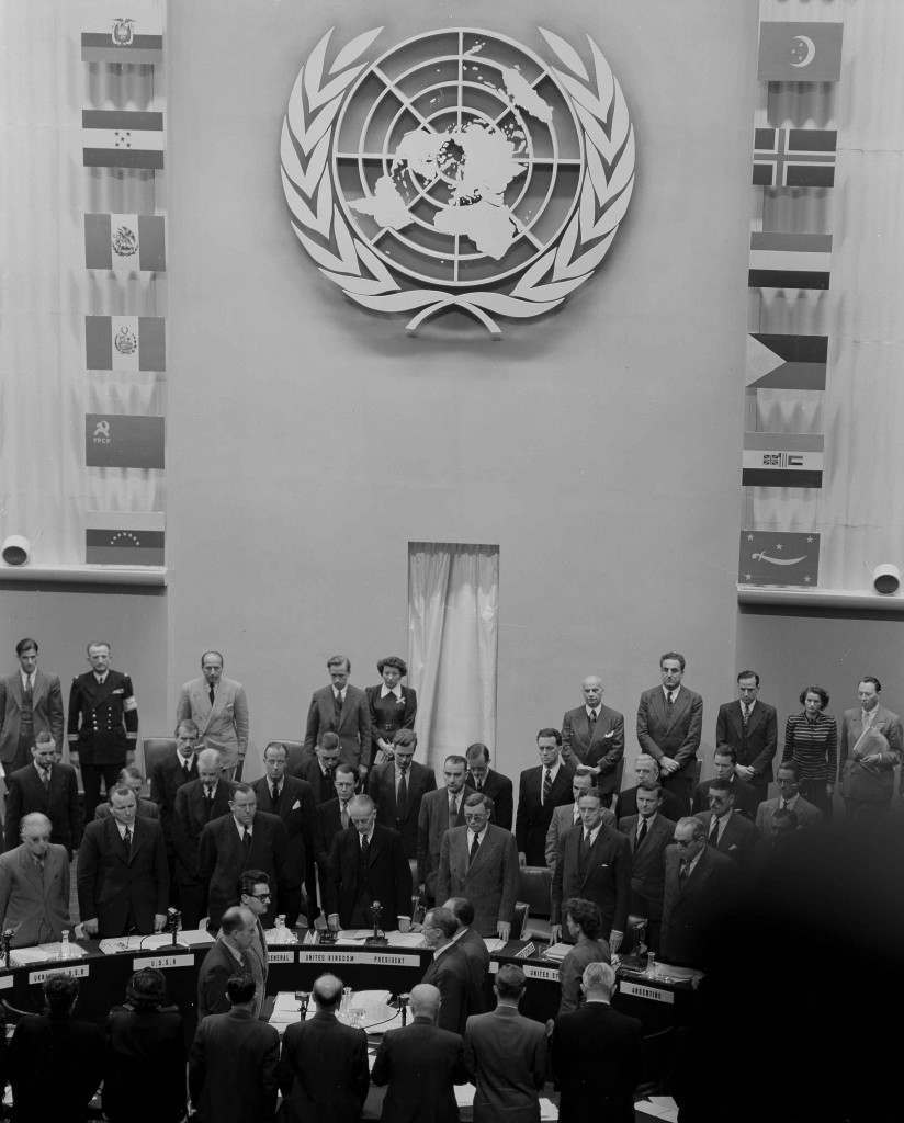 The United Nations Security Council, gathered in Paris, Sept. 18, 1948, stands in silent tribute for Count Folke Bernadotte of Sweden who was assassinated in Jerusalem, Sept. 17. (AP Photo/Levy) Ref #: PA.17633580 Date: 18/09/1948