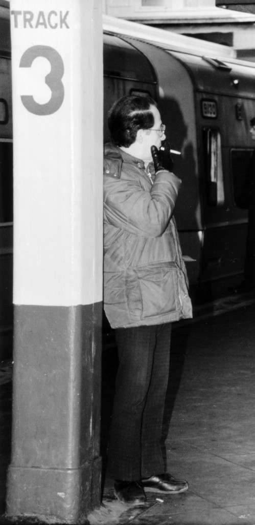 Commuter Tony Arnone of Far Rockaway, N.Y., smokes on the platform at the Jamaica Station in the Queens borough of New York, Feb. 15, 1988. Starting that day, smoking will be banned on all Long Island Rail Road and Metro-North commuter trains. Violators face fines of up to $100. (AP Photo/Diane Pleines-Fox) Ref #: PA.17634114  Date: 15/02/1988