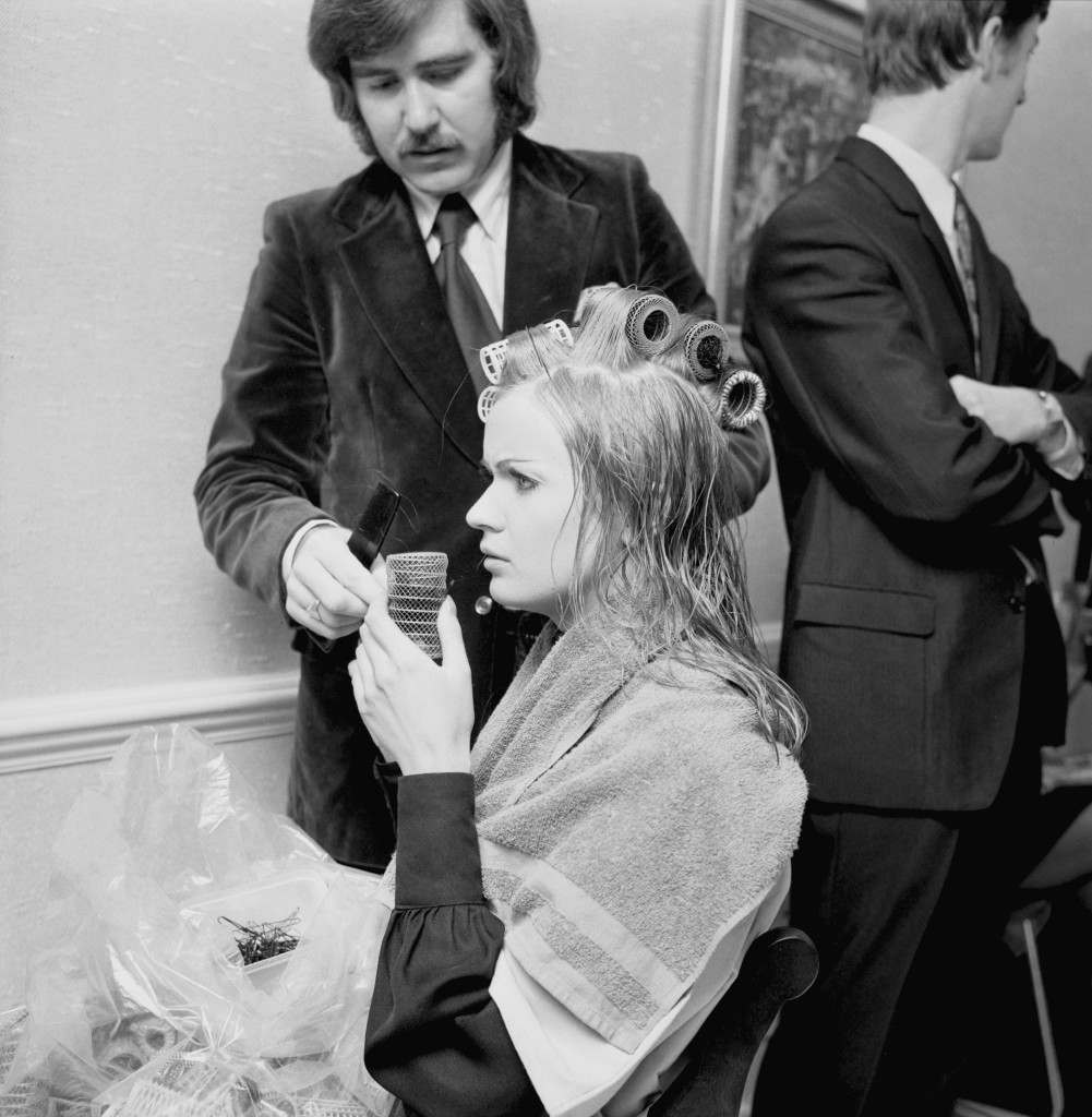 Crowned with rollers is Miss United Kingdom, Marilyn Ann Ward, 22, at a West End hairdressing salon where the Miss World contestants attended in preparation for the final. Ref #: PA.18378902  Date: 09/11/1971