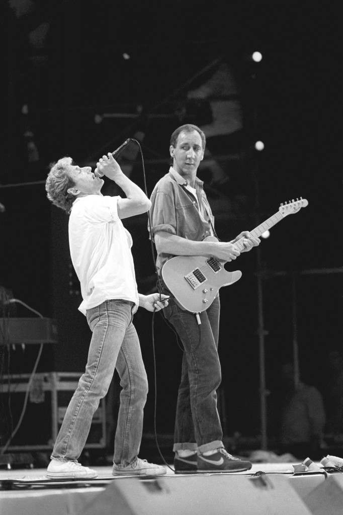 Roger Daltrey (l) and Pete Townshend reunited on stage as The Who at the Live Aid concert.