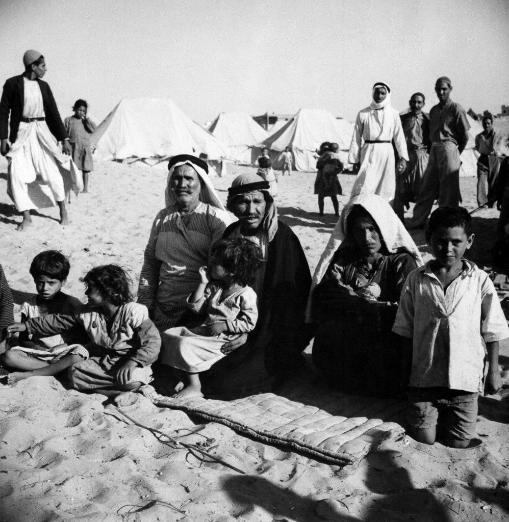 This family owned their own farm near Haifa. They fled when the British mandate ended and it became certain Israel would control the town. Today they are refugees in a camp near Gaza. The only possession they still have is a padded blanket. Location and date unknown. (AP Photo) Ref #: PA.18984382 Date: 01/01/1949