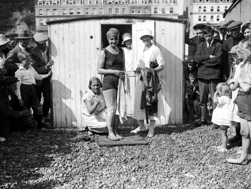 Miss Mercedes Gleitze starts from Folkestone to attempt to swim the channel. This was her seventh try. Mercedes Gleitze became, at her eighth attempt, the first British woman to swim the channel. She swam from France to England in 15 hours and 15 minutes. Ref #: PA.1917083  Date: 26/08/1926