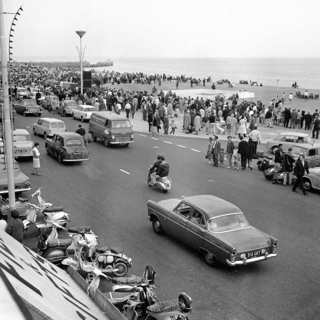 Extra police were required at Hastings, after outbreaks of trouble between Mods and Rockers, who descended on the Sussex resort. Ref #: PA.1929723  Date: 02/08/1964