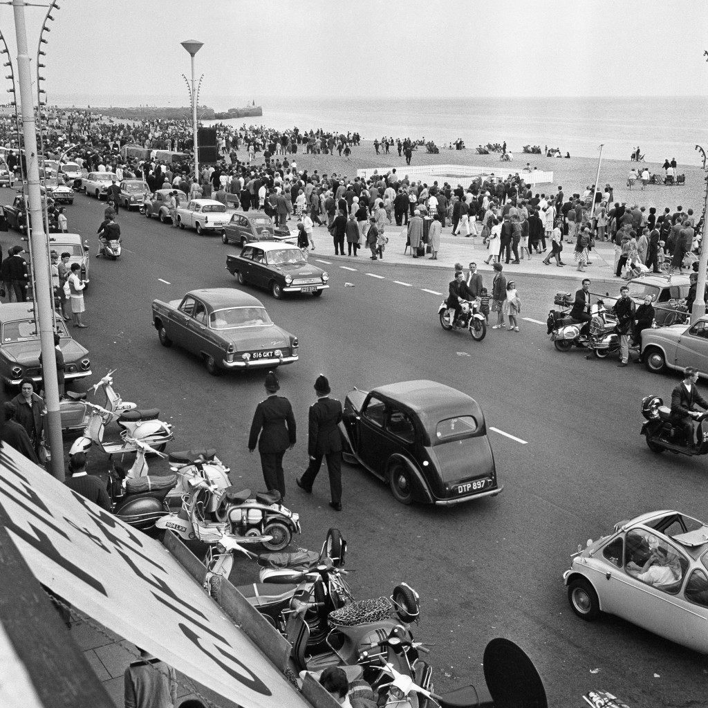 Extra police were required at Hastings, after outbreaks of trouble between Mods and Rockers, who descended on the Sussex resort. Ref #: PA.1929853  Date: 02/08/1964