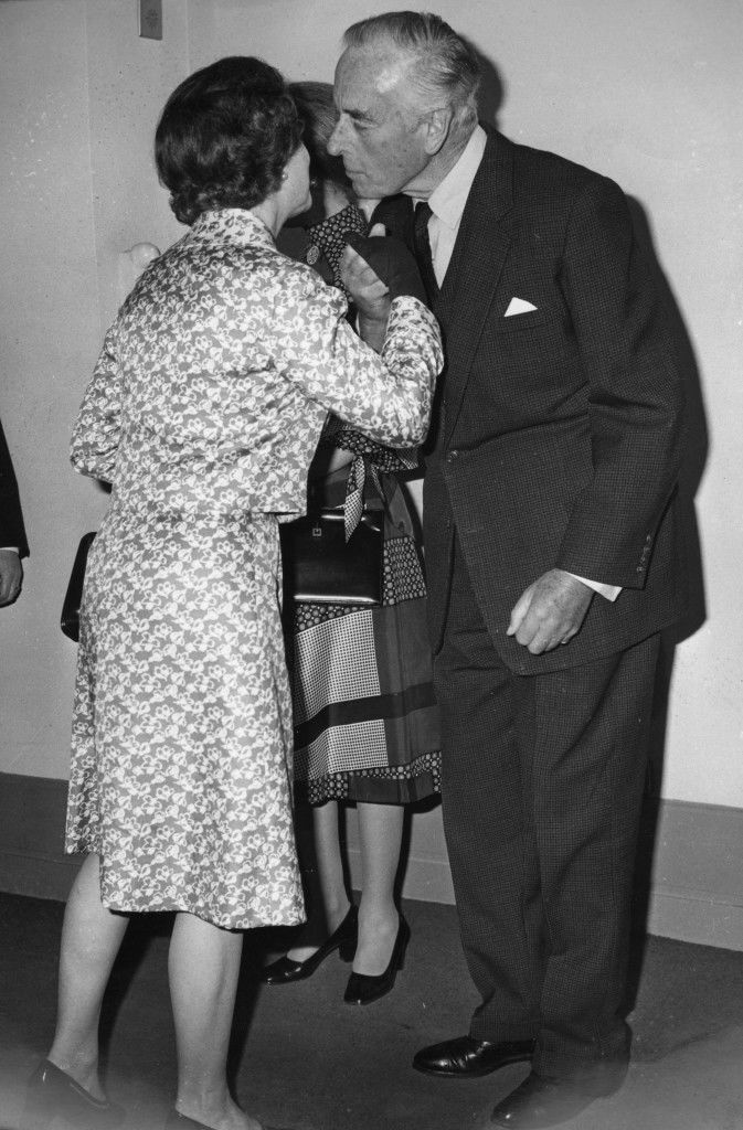 Earl Mountbatten greets Queen Elizabeth II at the opening of BAFTA's International Centre in Piccadilly. *Scan from print. Hi-res version available on request* Ref #: PA.21071866  Date: 10/03/1976