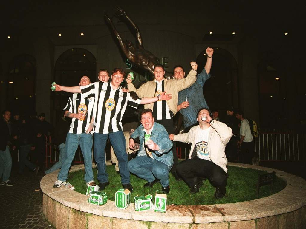 SOCCER - UEFA CUP QUARTER FINAL - AS Monaco v Newcastle United Newcastle United fans outside the stadium in Monaco SOCCER - UEFA CUP QUARTER FINAL - AS Monaco v Newcastle  Ref #: PA.224080  Date: 18/03/1997