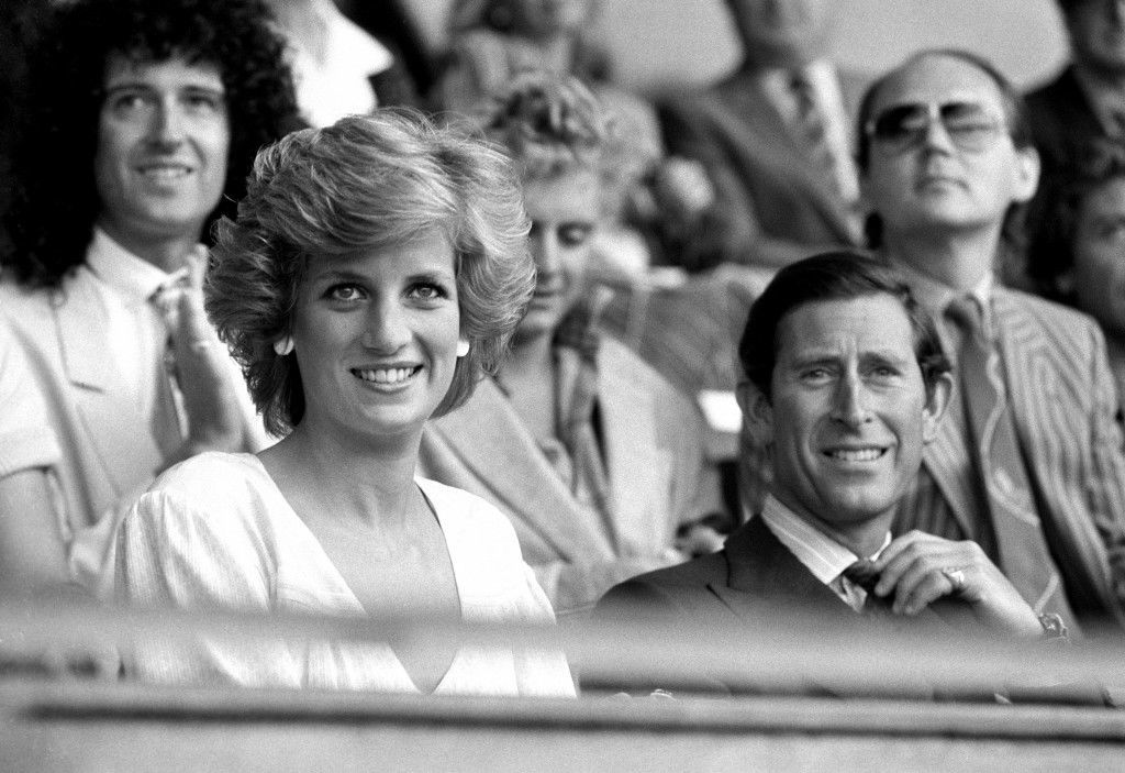 The Prince and Princess of Wales in the Royal Box after opening the Live Aid concert.  PA-2312215