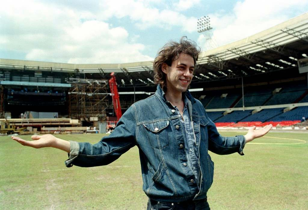 Bob Geldof is shown at Wembley Stadium during preparations for the Live Aid rock concert in London, England, July 10, 1985. It may be hard for next month's Live 8 concert to be as historic or even heart-warming as the 1985 Live Aid show, one of the greatest rock concerts of all time. (AP Photo/David Caulkin) PA-2443367