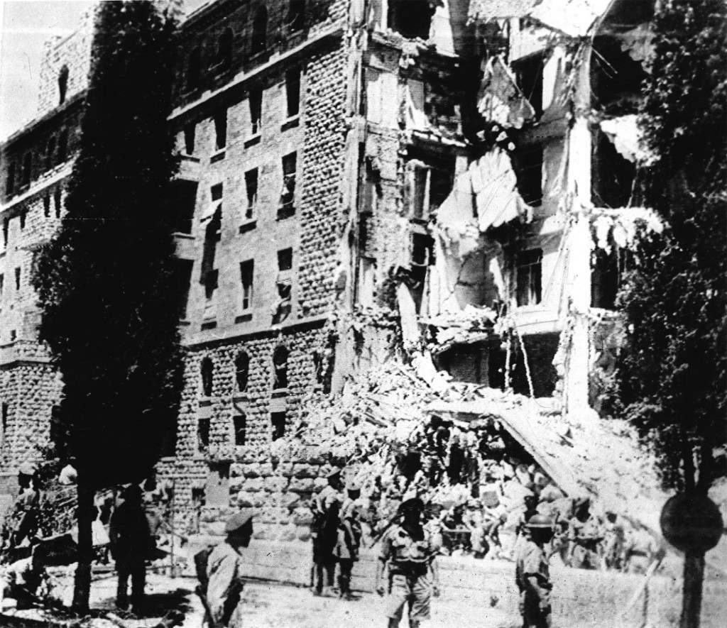 Shortly after noon on july 22, 1946, one wing of the huge Palestine Government secretariat and the Headquarters of the Palestine Army command in the King David hotel, Jerusalem, was destroyed. Bombs had been planted in the basement. Our Associated Press photo shows the wrecked wing ot the King David hotel where the government chief secretary's office was located, immediately after the explosion. Ref #: PA.2508973 Date: 22/07/1946