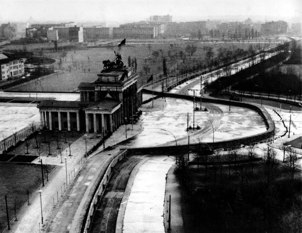 The Brandenburg Gate is sealed off in the Soviet-occupied sector of East Berlin. Located at the center of the German capital, the gate stands behind part of the Berlin Wall that divides East and West Berlin. PA-2637687