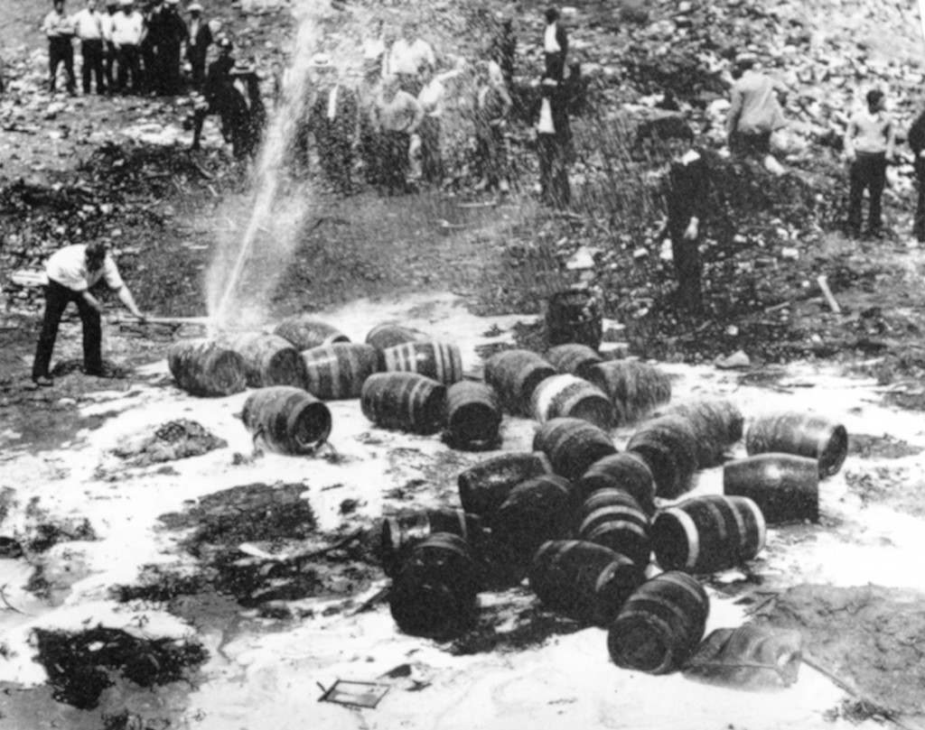 Beer barrels are destroyed by prohibition agents in an unknown location. Picture date: Jan. 16, 1920.(AP-PHOTO) Ref #: PA.2683951  Date: 16/01/1920