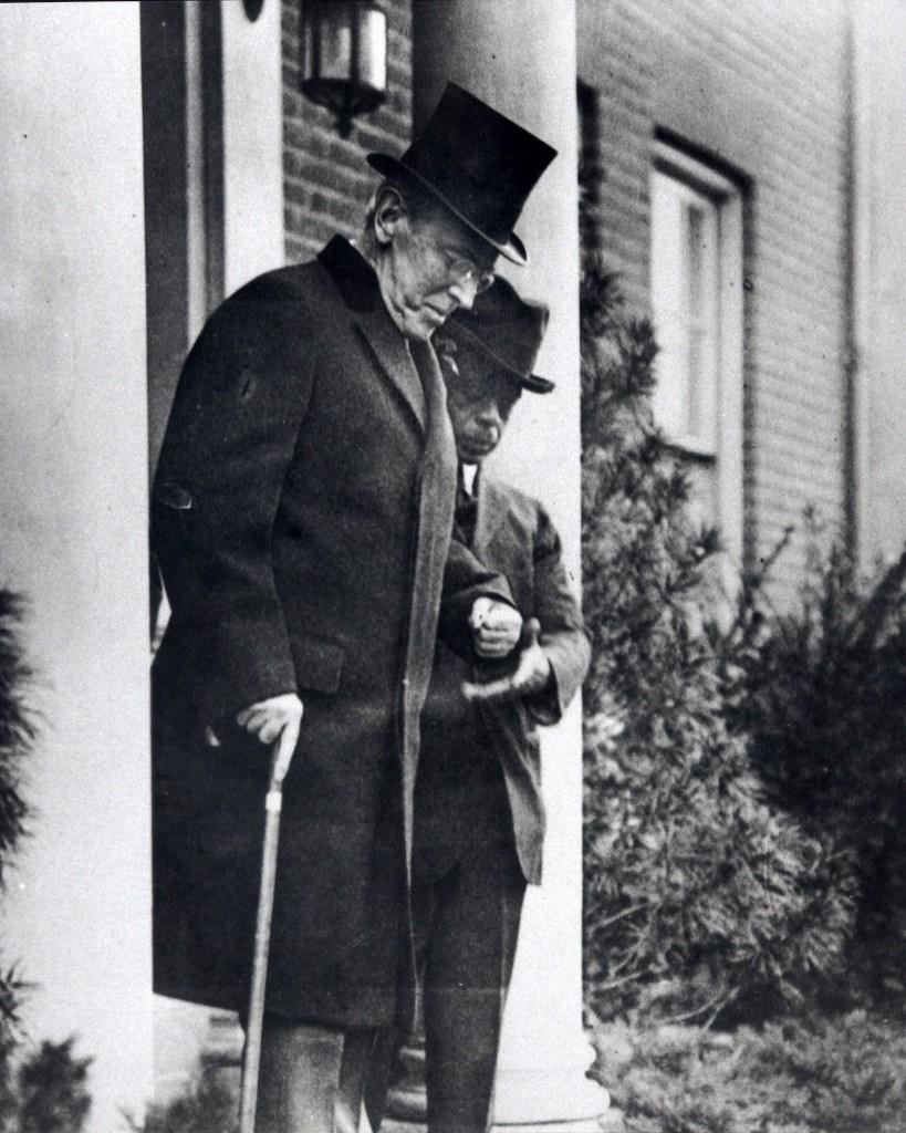 ormer President Woodrow Wilson, with the help of an unidentified aide, leaves his Washington home in 1921. Mark Benbow, historian at the Woodrow Wilson House, has grown tired of hearing people wrongly say the 28th president was responsible for Prohibition because it occurred while he was in the White House. The Woodrow Wilson House, where as ex-president he lived his last three years, is the only presidential museum in Washington. (AP Photo) Ref #: PA.2728206 Date: 28/11/1921
