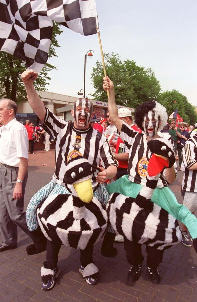 Soccer - Littlewoods FA Cup Final - Arsenal v Newcastle United Newcastle United fans outside the stadium Soccer - FA Cup Final - Arsenal v Newcastle United%0D%0ANewcastle United fan Ref #: PA.276261  Date: 16/05/1998