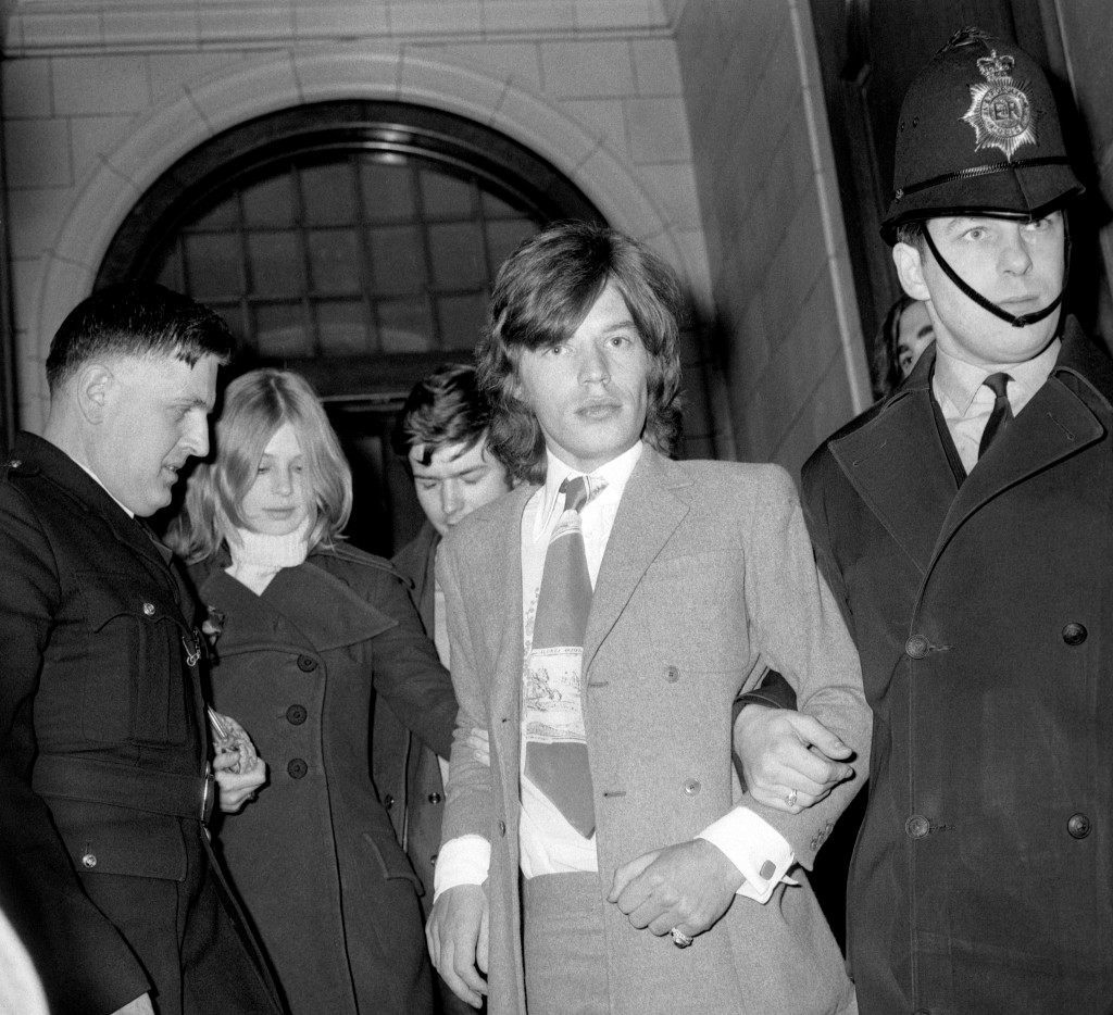 Mick Jagger, lead singer of the Rolling Stones, and his former girl friend Marianne Faithfull after the conclusion of the case at Marlborough Street Court, in which they had pleaded not guilty to possessing cannabis resin. The charge against Marianne was dropped but Jagger was fined £200 with 50 guineas costs. Ref #: PA.3506099