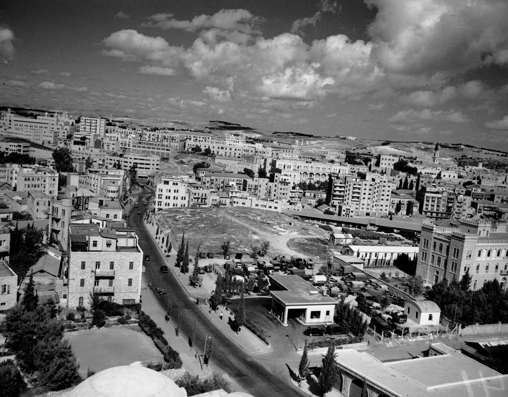 This photograph shows the view looking north toward the center of Jerusalem, Palestine, on Nov. 22, 1945. The Avenue is called Julians Way. (AP Photo) Ref #: PA.3946707 Date: 22/11/1945