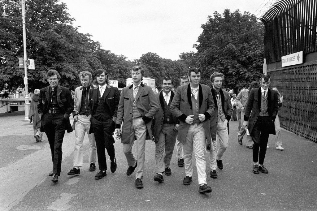 Teddy-boys arrive for the Rock revival festival wearing long jackets, drainpipe trousers and string ties. Ref #: PA.4945663  Date: 05/08/1972