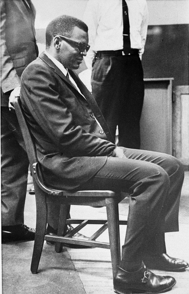 Singer Ray Charles sits in Indianapolis Municipal Court during preliminary hearings on narcotics charges filed against him last November, Jan. 9, 1962. The case was continued until January 30 after Charles' attorney contended that the arrest in an Indianapolis hotel suite was improper. (AP Photo) Ref #: PA.4945950
