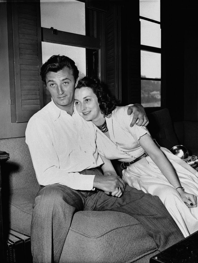 Movie actor Robert Mitchum embraces his wife after returning to his Hollywood home, March 30, 1949 from jail where he served 50 days of a 60 day sentence for a marijuana violation. (AP Photo) Ref #: PA.4949533  Date: 30/03/1949