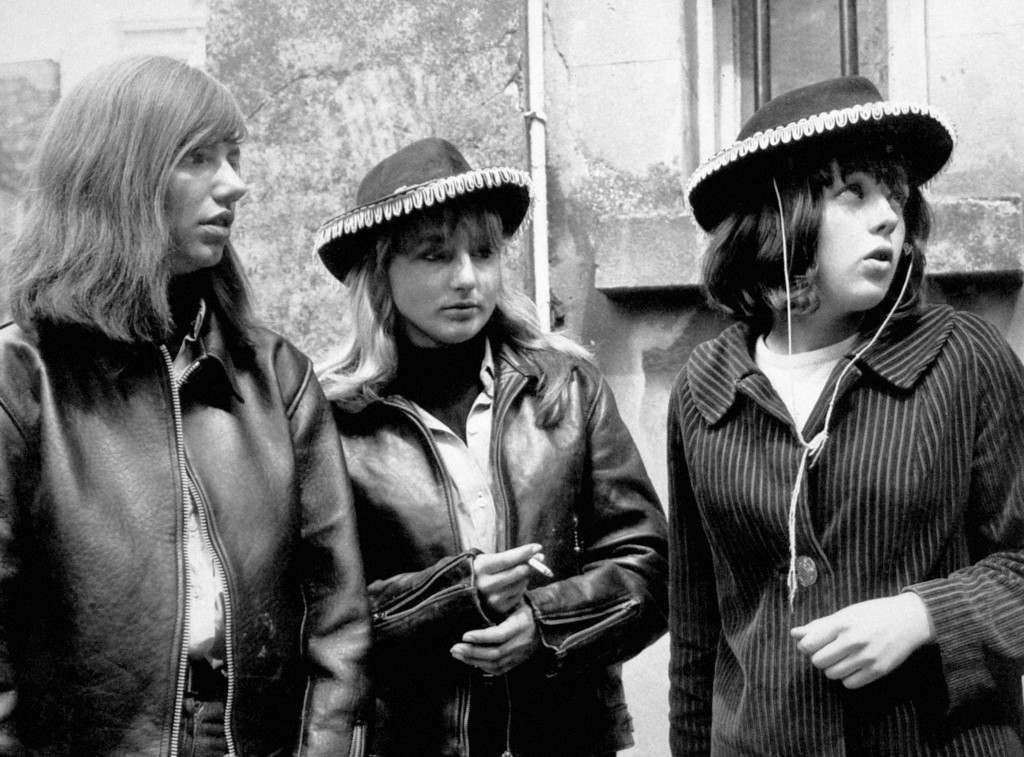 Long haired and leather clad rocker girls who were witnesses for one of the 50 youths who appeared at Margate Magistrates Court Kent on charges arising from yesterdays Mods v Rockers clash. L-R: Linda Hunt, Christine Sanders, Annabelle Etherington. Ref #: PA.5581403  Date: 18/05/1964