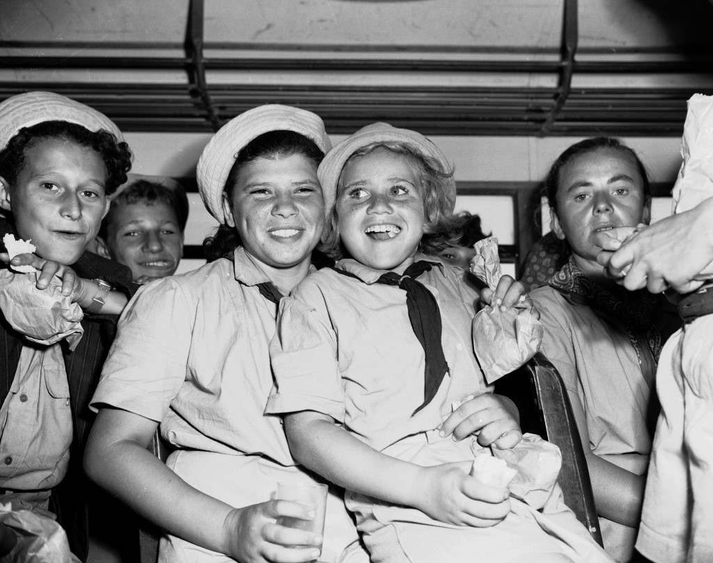 Some of the orphans whose parents died in German concentration camps are among the 500 youngsters who arrived in Haifa, Palestine from Cyprus internment camps, Aug. 21, 1947. The children were allowed to enter Palestine under the legal immigration quota. (AP Photo/Jim Pringle) Ref #: PA.5737191 Date: 21/08/1947