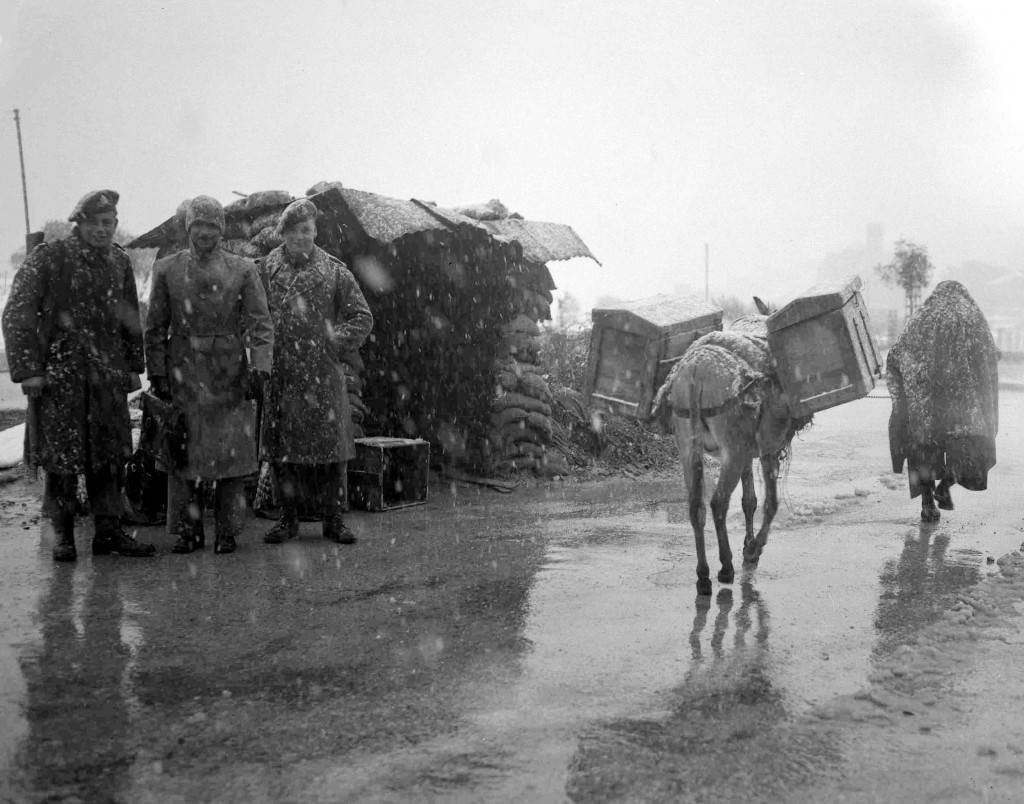 An arab and his donkey pass a road block, manned by British soldiers and Palestinian policeman, during a snowfall, near Jerusalem, Palestine, March 22, 1948. (AP Photo) Ref #: PA.5737202 Date: 22/03/1948