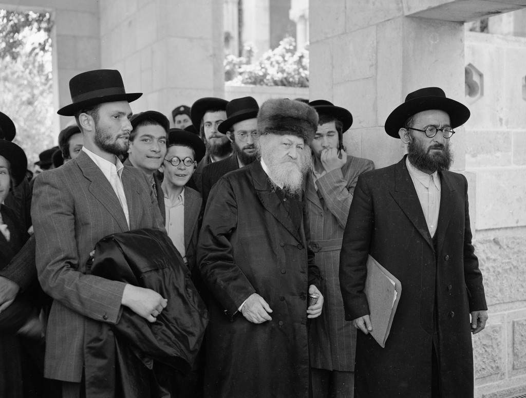 Orthodox Jews are seen during a United Nations Special Committee on Palestine hearing in Jerusalem, July 20, 1947. At left is Chief Rabbi of the Orthodox Jews in Palestine, Joseph Zvi Dushinski. Others are unidentified. (AP Photo/Jim Pringle) Ref #: PA.5737225 Date: 20/07/1947