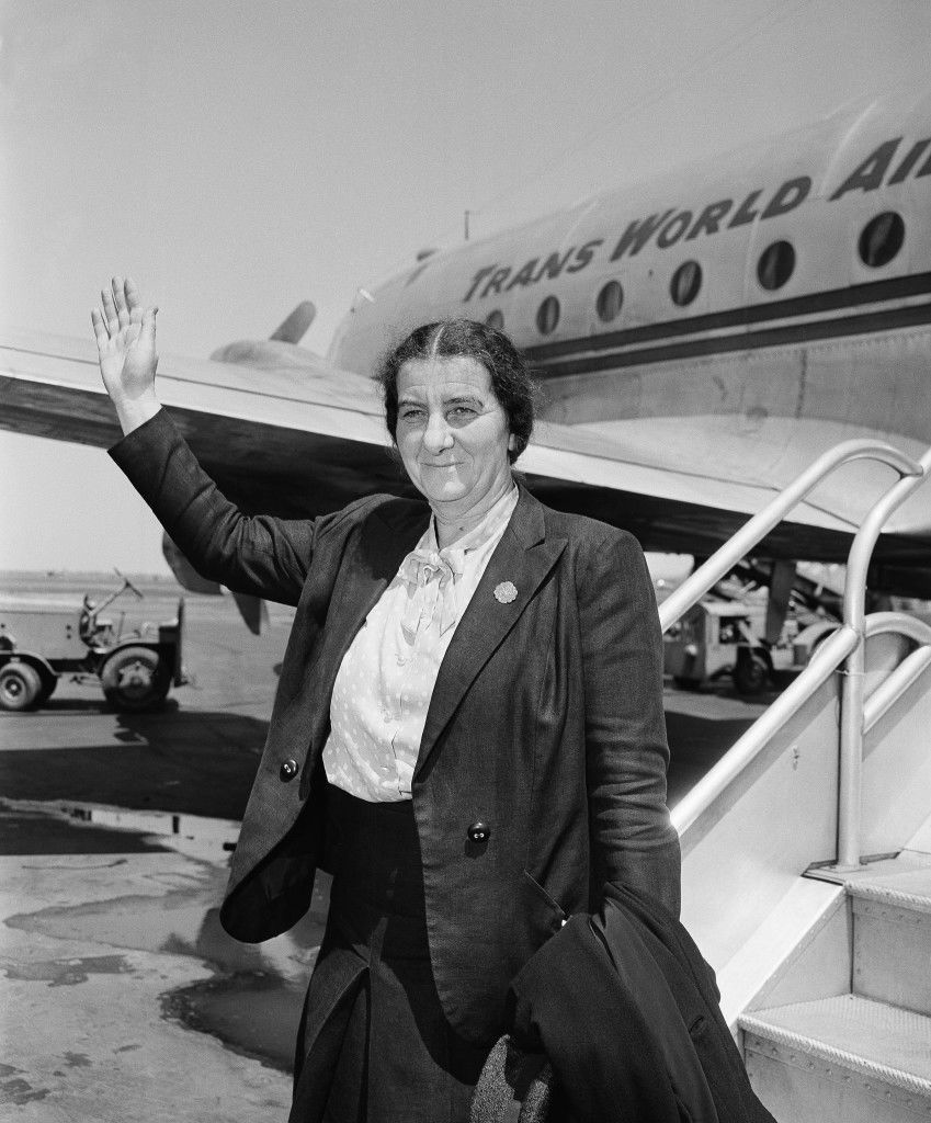 "Mrs. Golda Meir is the only female member of the provisional council of the new state of Israel, waves following her arrival at La Guardia Field, New York, May 19, 1948 from Jerusalem. She declared that ""if the United state arms embargo is lifted, we can drive the Arabs out in a few weeks."" She added that the Jewish people in Palestine were optimistic of the successful outcome of the war because finances and manpower have been solidly mobilized. (AP Photo) Ref #: PA.5737250 Date: 09/05/1948"