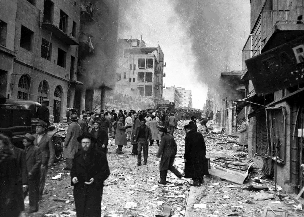 Two trucks exploded on Ben Yehuda Street, in the heart of the Jewish business district of Jerusalem, Feb. 2, 1948, killing 27 people and injuring more than 100 others. (AP Photo/Pringle) Ref #: PA.5737265 Date: 02/02/1948