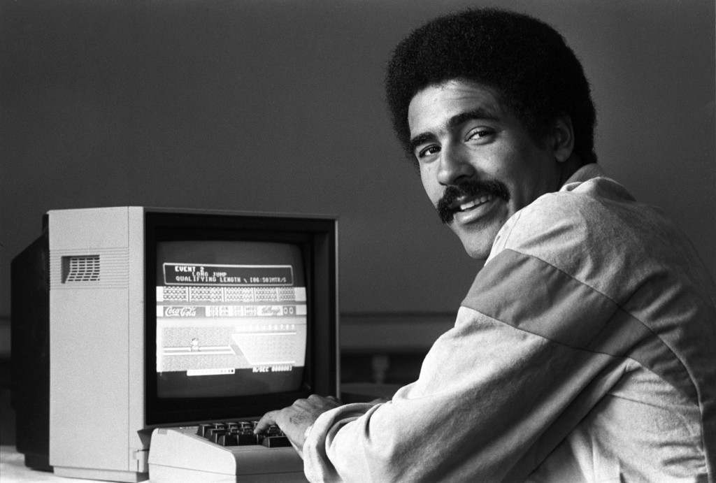 Decathlon World record holder Daley Thompson at the Carlton Tower Hotel wher he saw for himself a microcomputer game which offered players the chance to compete, under olympic qualifying standards, against Daley. The machine was launched to coincide with the 23rd modern Olympics in Los Angeles. Ref #: PA.5785915  Date: 29/06/1984
