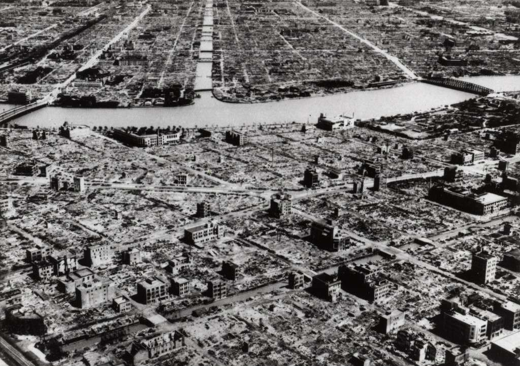 This aerial photo taken in March 9, 1945 shows the industrial section of Tokyo along the Sumida River. With the exception of the concrete buildings a great part of the area has been razed by incendiary and other strikes by U.S.warplanes in March, 1945. The Tokyo firebombing has long been overshadowed by the subsequent U.S. atomic attacks on Hiroshima and Nagasaki preceding the Japanese surrender that ended World War II. But the burning of the capital stands as a horrifying landmark in the brutal history of warfare on noncombatants. (AP Photo) Ref #: PA.6029484