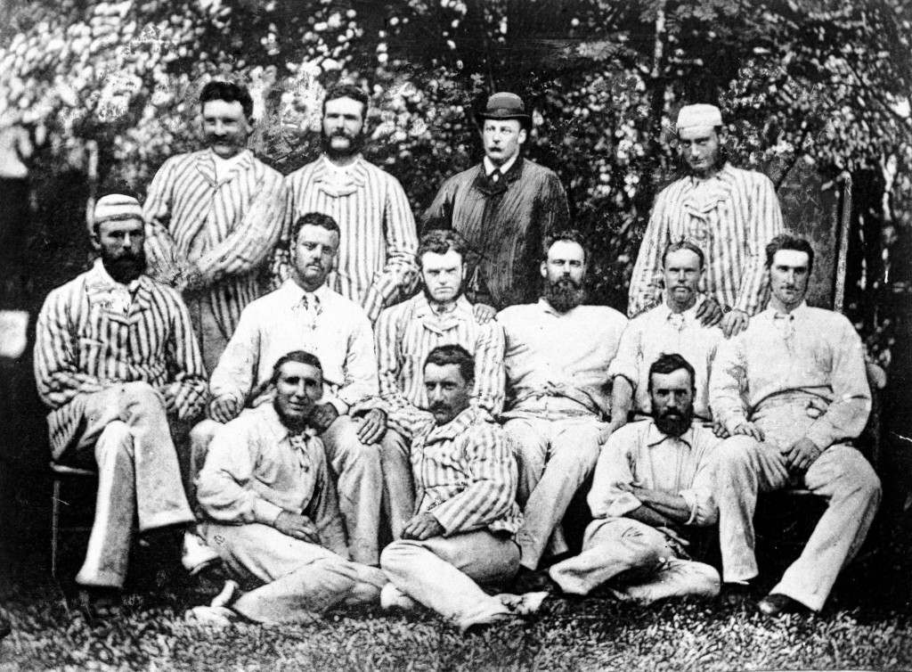 The first official Australian side to visit England: (back row, l-r) Billy Midwinter, George Bailey, ?, Frank Allan; (middle row, l-r) Harry Boyle, Billy Murdoch, Tom Horan, Dave Gregory, Alec Bannerman, Frederick Spofforth; (front row, l-r) Tom Garrett, Charles Bannerman, Jack Blackham Ref #: PA.625125  Date: 25/05/1878