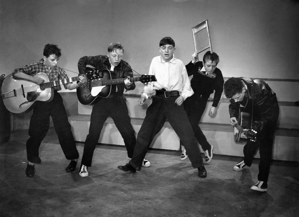 The McCormick Skiffle Group, from left to right, Billy McCormick, Frank Healy, Wesley McCausland, Edward McSherry, and James McCartney. Ref #: PA.6397931  Date: 02/11/1957