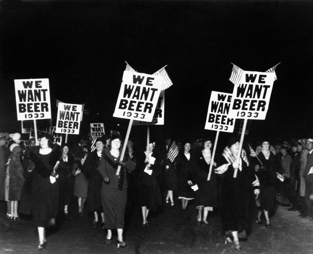 "Women turn out in large numbers, some carrying placards reading ""We want beer,"" for the anti prohibition parade and demonstration in Newark, N.J., Oct. 28, 1932. More than 20,000 people took part in the mass demad for the repeal of the 18th Ammendment. (AP Photo) Ref #: PA.6501630 Date: 28/10/1932"
