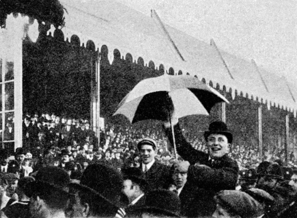 Soccer - FA Cup - Final - Aston Villa v Newcastle United A Newcastle United fan with a black and white umbrella Ref #: PA.683864  Date: 15/04/1905