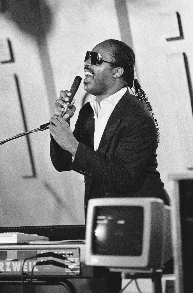 Stevie Wonder Demonstrating Computer News Conference