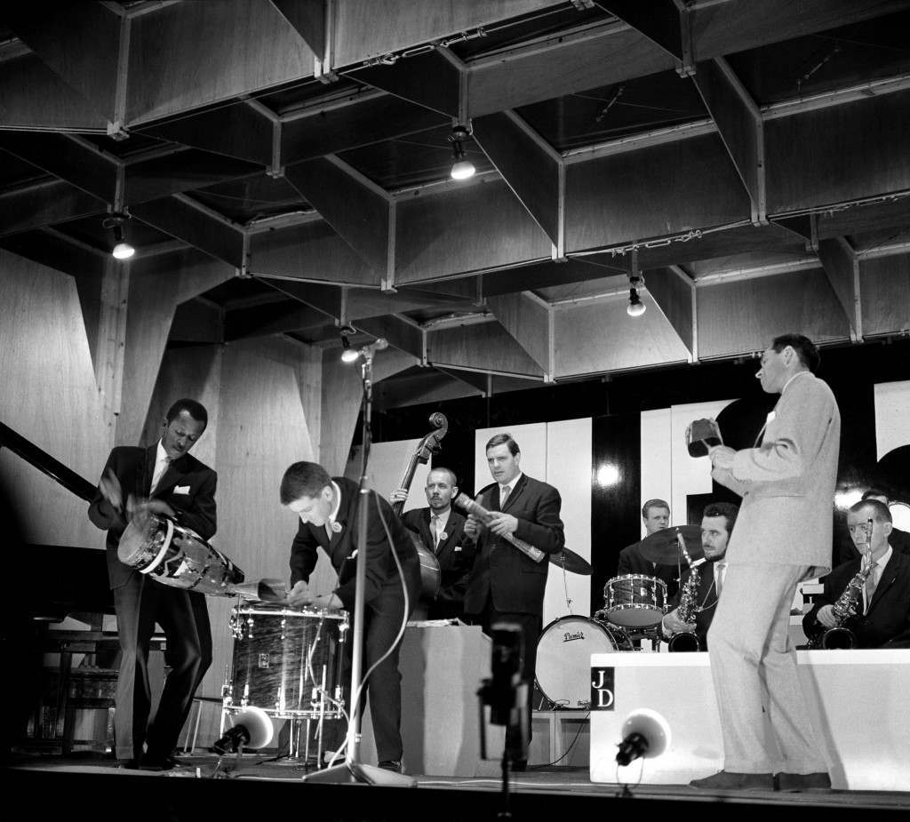 Johnny Dankworth and his orchestra play during the Jazz Festival held in the grounds of Lord Montagu's home, Palace House at Beaulieu, Hampshire 91095-3 Ref #: PA.8331441  Date: 30/07/1961