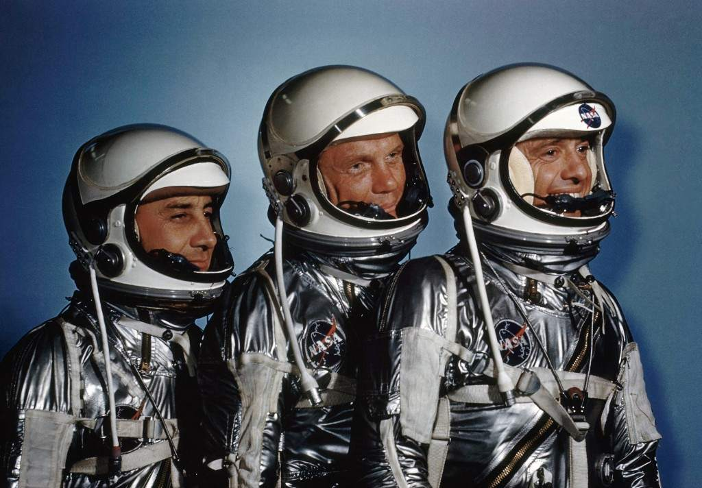 Astronauts Alan Shepard, John Glenn and Virgil I. Grissom in May 1961. (AP Photo) Ref #: PA.8611833