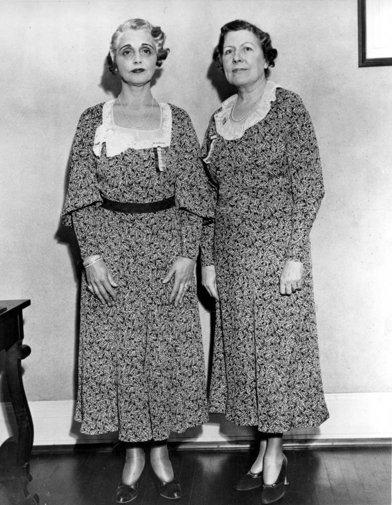 Mrs. William T. Healey, left, of Atlanta, Ga., and Mrs. Mae L. Hamilton, of Omaha, Neb., pose at the meeting of the National Executive Committee of the Women's Organization for National Prohibition Reform (WONPR) at Princeton, N.J., on Dec. 6, 1932. They are wearing matching dresses with the small-lettered repeal as the motif for the design. (AP Photo) Ref #: PA.8627073 Date: 06/12/1932