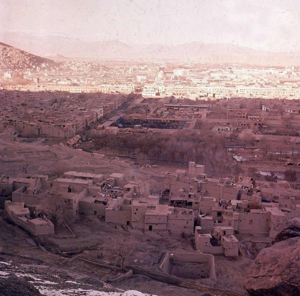 This is a general view of Kabul from the mountain on the south side showing the mud buildings of old quarter in foreground and the new stone buildings in background, in Nov. 1961. Kabul, capital city of Afghanistan, is on the Kabul River at an elevation of about 5900 feet, 1800 meters. (AP Photo/Henry S. Bradsher)