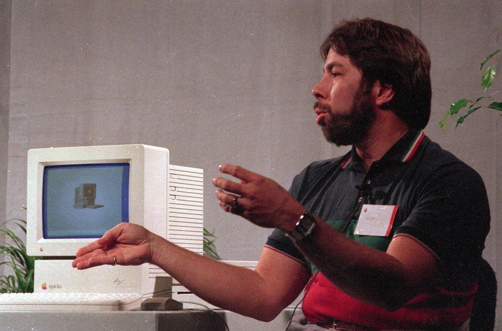 Steve Wozniak, creator of Apple's first computer, sits by the new Apple IIgs in Cupertino, Calif., on Sept. 16, 1986. (AP Photo/Steve Castillo)