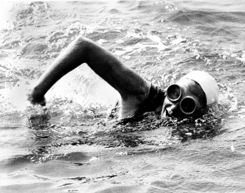 Florence Chadwick is shown four miles off the Dover shore during her record-breaking swim across the English Channel, England, on Aug. 8, 1950. The 31-year-old swimmer from San Diego, Ca., arrived at Dover, Kent, 13 hours and 28 minutes after leaving Cap Gris Nez, France. Chadwick broke the women's record of 14 hours and 34 minutes set in 1926 by Gertrude Ederle. (AP Photo) Ref #: PA.8637114  Date: 08/08/1950